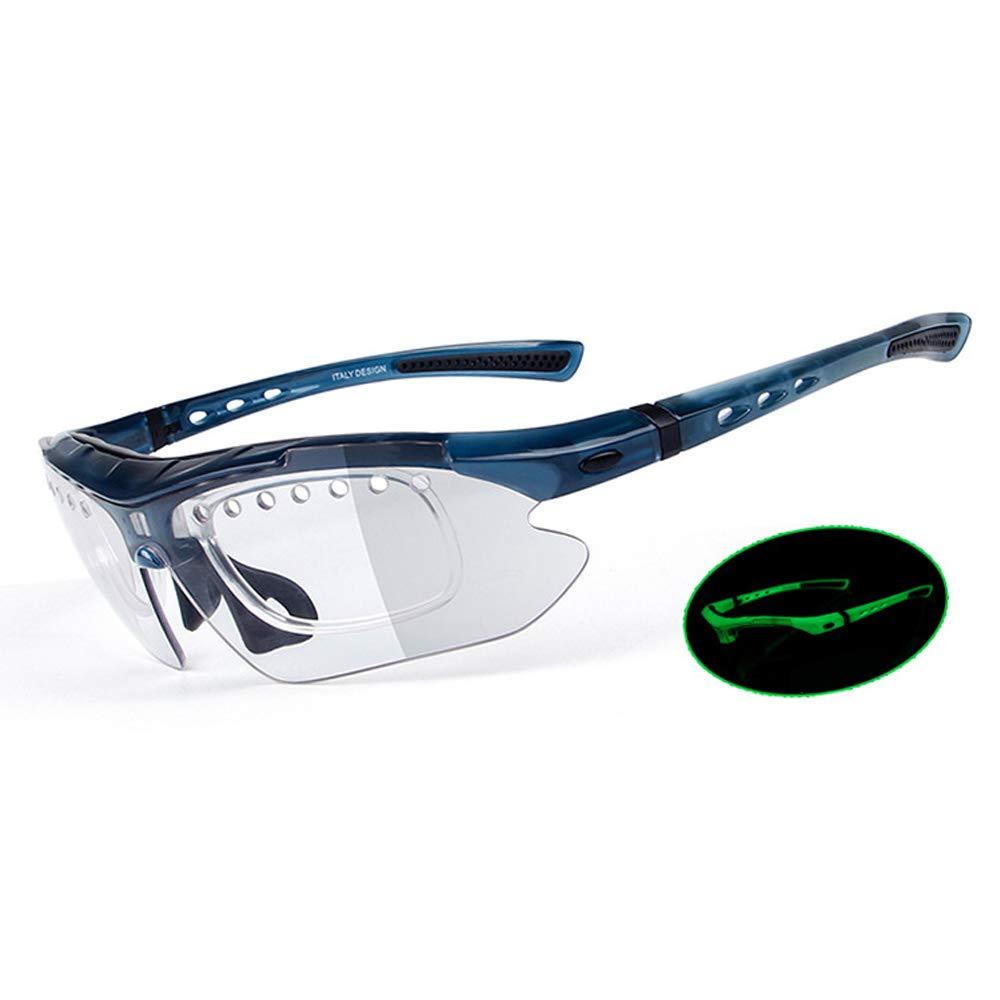 サイクリングメガネ ナイトビジョン 変色偏光サングラス UV400 保護 壊れないスポーツグラス 交換レンズ3セット付き  ブルー B07M93HJ6C