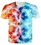 Uideazone Unisex 3D Creative Print Short Sleeve T-Shirt Casual Graphic Tee