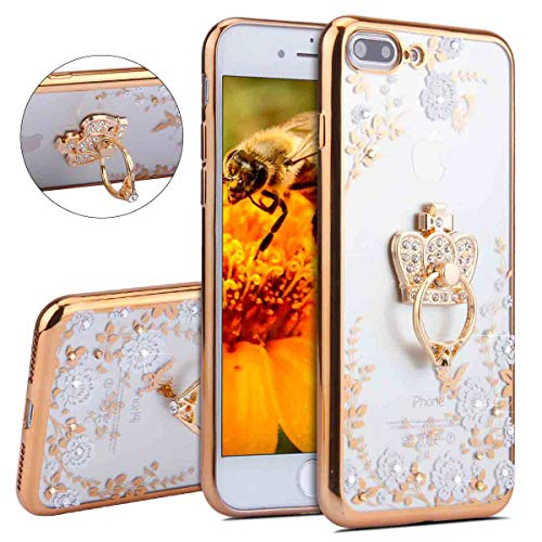 IKASEFU Gold Bling Crown Diamond Rhinestone Slim Glitter Sparkly White Floral Cute Soft silicone With Ring Holder Protective Cover Compatible with iPhone 7 plus/8 plus