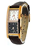 Oxygen Ladies Dual Time Zone Watch Brown Leather Strap Rose Gold Case