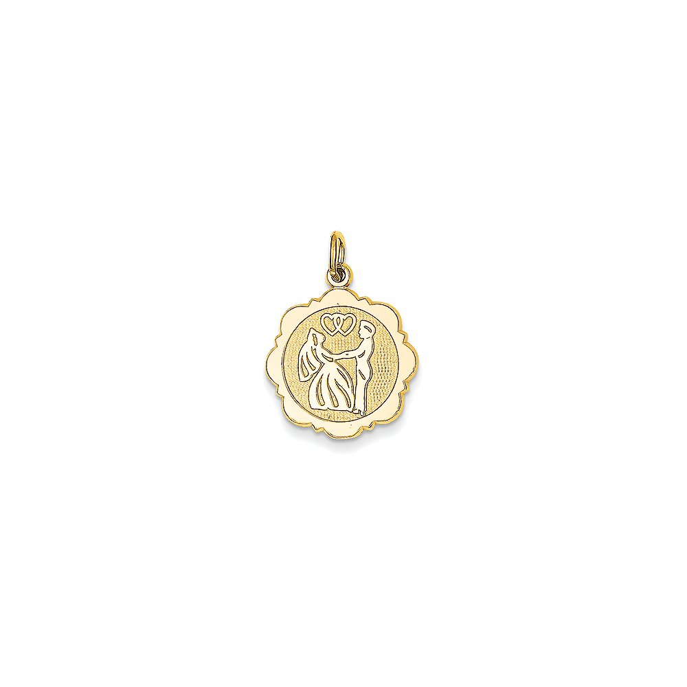 14k Yellow Gold Bride and Groom Charm Back Is Textured (15x23 mm)