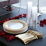 Kaya Collection - Swirl Gold Disposable Plastic Buffet Party Package - Includes Buffet Plates, Gold Forks and Tumblers (120 Person Package)