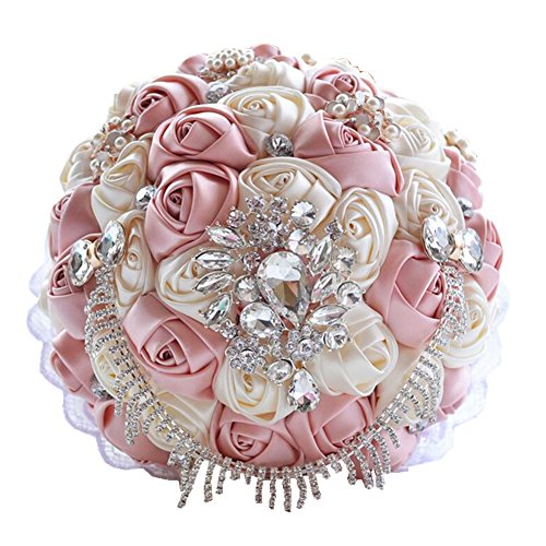 SILK Rose Flower Handmade Wedding Bouquet Brooch Pearls Crystal Bridal Flowers (Pink)