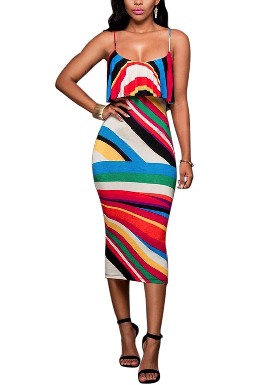 HowFitU Womens Sexy Bandage Bodycon Print Ruffle Spaghetti Strap Party Dresses