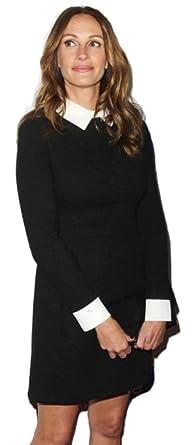 buy online 578f1 c2acf Vestito nero corto cocktail con colletto bianco manica lunga ...