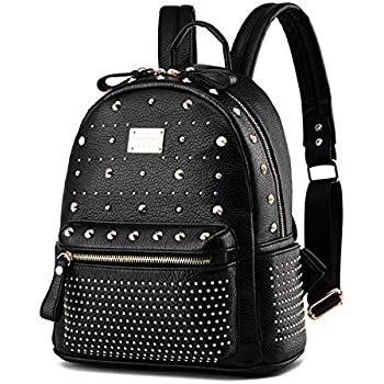Women s Mini Rivet Studded Leather Backpack Waterproof Purse Backpacks  Travel Shoulder Bag 71afe171d9a20