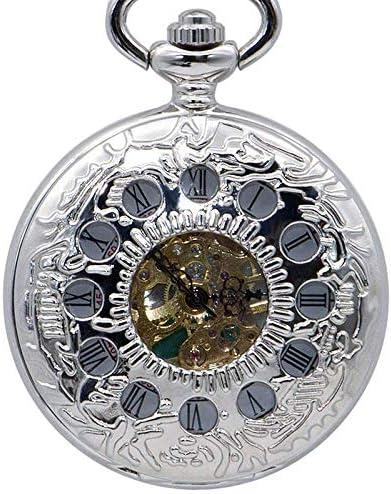 懐中時計、スチームパンクホイールギアメカニカルハンドウィンドスケルトンバックブラックスチールチェーン付き