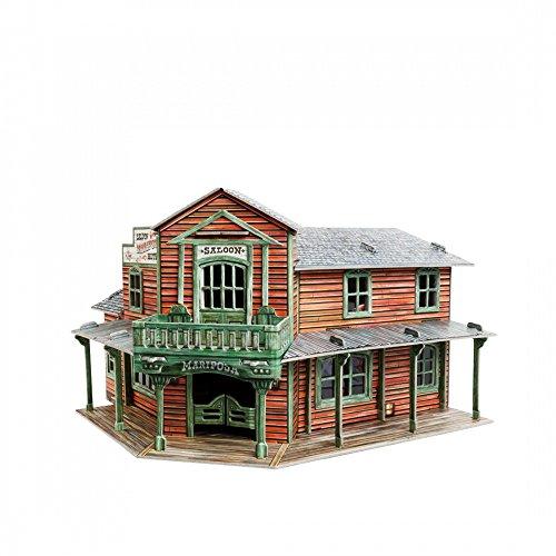 [해외]Innovative 3D-Puzzles - The Saloon - Wild West Series by Clever Paper 8.25 x 5.5 x 7.75 87 Details (466) / Innovative 3D-Puzzles - The Saloon - Wild West Series by Clever Paper 8.25 x 5.5 x 7.75 87 Details (466)