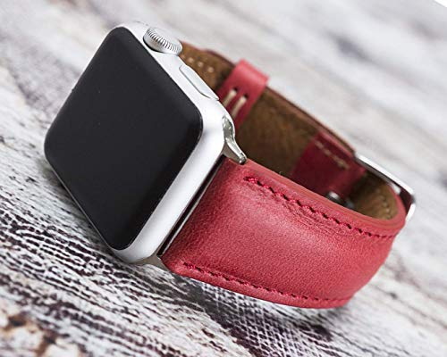 Red Leather Apple Watch Band 44mm 40mm for Series 6-1 iWatch Strap, Man or Women, Genuine Leather, High Quality, Genuine Leather Bull Strap Customization Avaliable for Gift Items, HANDMADE