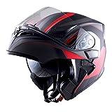 #9: 1Storm Motorcycle Modular Full Face Helmet Flip up Dual Visor Sun Shield: HB89 Arrow Red