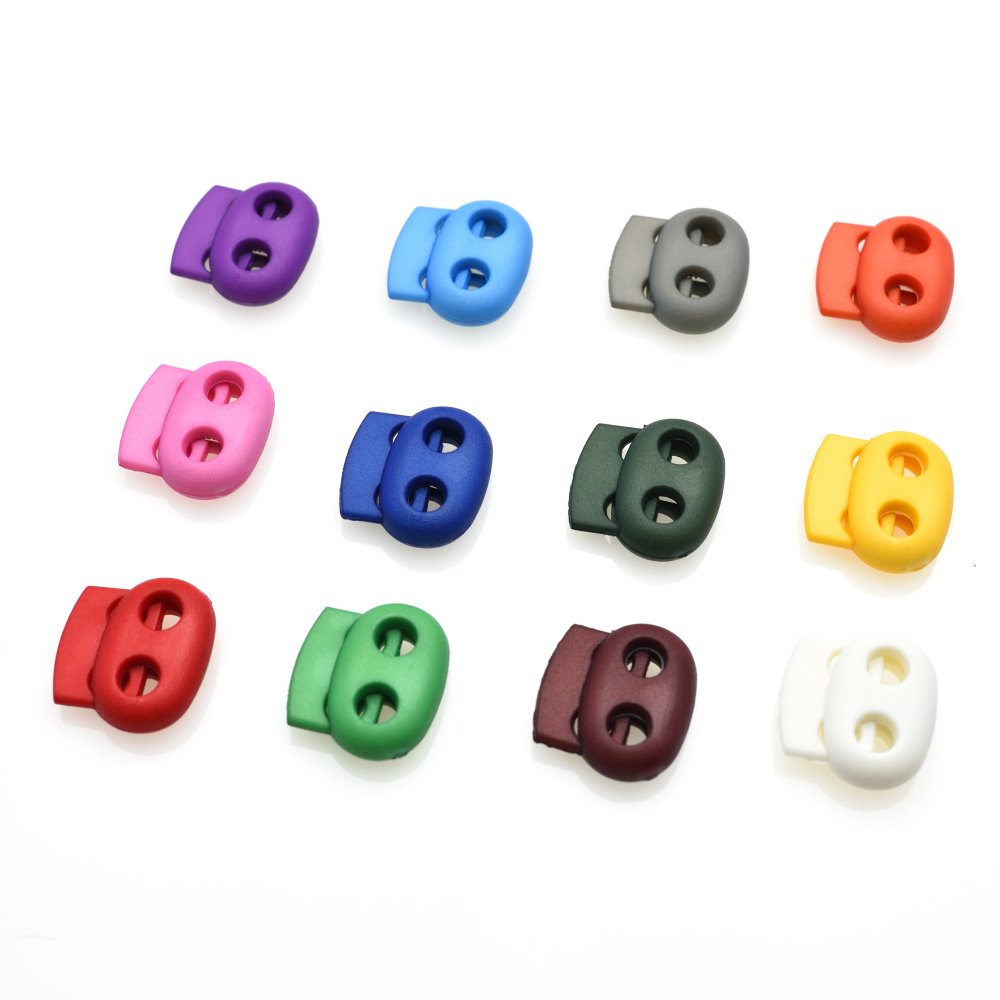 12pcs/Pack Mixed Colorful 5mm Hole Plastic Stopper Cord Lock Bean Toggle Clip Apparel Shoelace Sportswear Accessorie sacoora