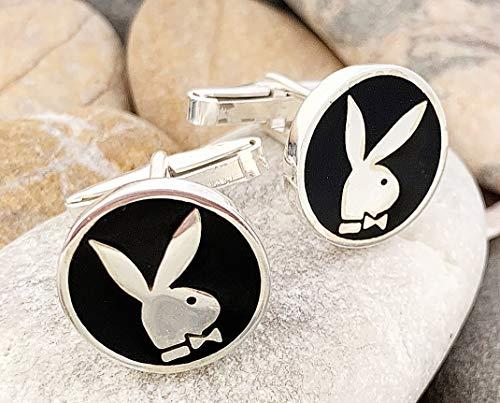 Handmade Solid 925k Sterling Silver Playboy Bunny Rabbit Men's Circle Cufflinks #2 - Circles Playboy