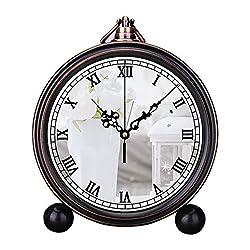 Retro Innovative Student Clock Alarm Clock Table Iron Decoration Desktop Clock Round White Ceramic Vase with White Flowers