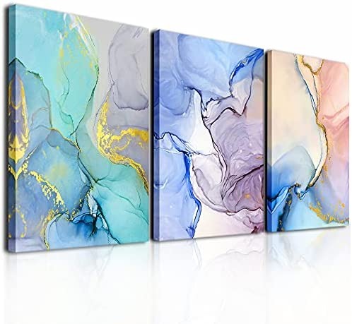 Abstract Wall Decor For Living Room Canvas Wall Art Paintings For Bedroom Colorful Color Abstract Wall Artworks Pictures For Office Kitchen Decoration Bathroom Home Decorations Art 3 Piece 12×16 Inch