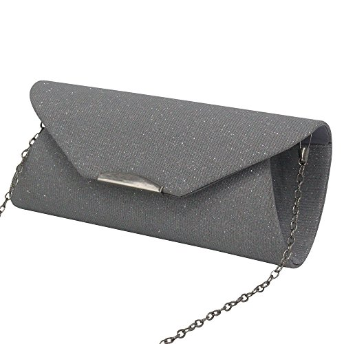 Ladies Clutch Handbag Shoulder Bag Envelope Chain Trim Evening Women Silver Wiwsi Silver Purse Un5xBw