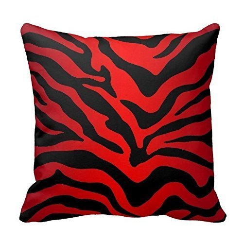 Red and Black Zebra Print Stripes Animal Print Throw Pillow Case Decor Cushion Cover 18x18 Inch Square