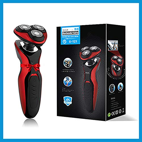 Face Care Men Beard Trimmer Machine Rechargeable Electric Shaver 3D Triple Floating Blade Heads Shaving Razors 100 240V,Red,Us Plug
