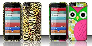 Combo pack For iPhone 5 - Rubberized Design Cover - Golden Safari And For iPhone 5 - Rubberized Design Cover - Owl
