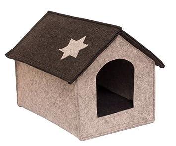 Caseta gato Casa cabaña para perros y gatos en fieltro gris tamaño L Animales Pequeños Casa cueva gris claro antracita Altura Total: Amazon.es: Productos ...
