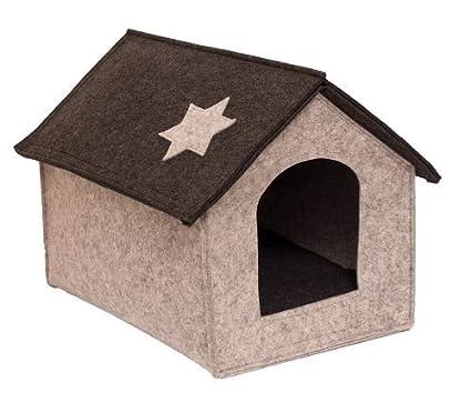 Caseta gato Casa cabaña para perros y gatos en fieltro gris tamaño L Animales Pequeños Casa