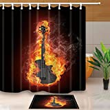 KOTOM Music Graphics Decor, Electric Bass Guitar in fire Isolated in Black, 69X70in Mildew Resistant Polyester Fabric Shower Curtain Suit With 15.7x23.6in Flannel Non-Slip Floor Doormat Bath Rugs