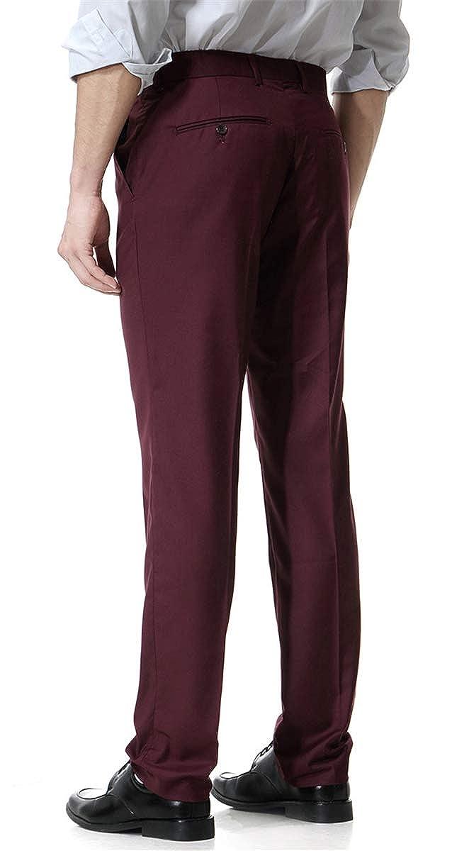 QZH.DUAO Mens Expandable-Waist Flat-Front Dress Pant