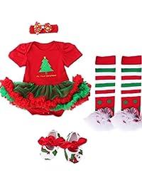 Jubileens Baby Girls' 4PCs Christamas Romper Tutu Dress Headband Shoes Leggings