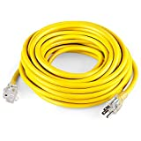 SIMBR 25 ft Outdoor/Indoor Power Extension Cord, Heavy Duty 12/3 Lighted Plug Electrical Cord, 12 Gauge, 3 Prong, 15 Amps, 1875 Watts, UL Listed, SJTW, Yellow