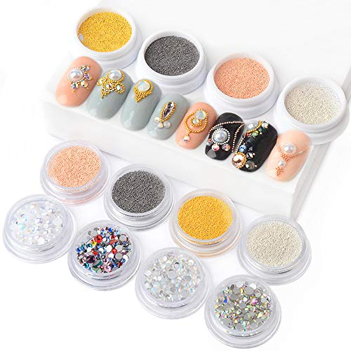 14 Boxes/Set 3D Metal Micro Beads 0.4mm/0.6mm Stainless Steel Nails Caviar Beads AB Colorful Flat Bottom Opal Nail Art Rhinestones Decorations by Artlalic