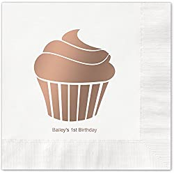 Cupcake Celebration Personalized Beverage Cocktail Napkins - Canopy Street - 100 Custom Printed White Paper Napkins with choice of foil stamp