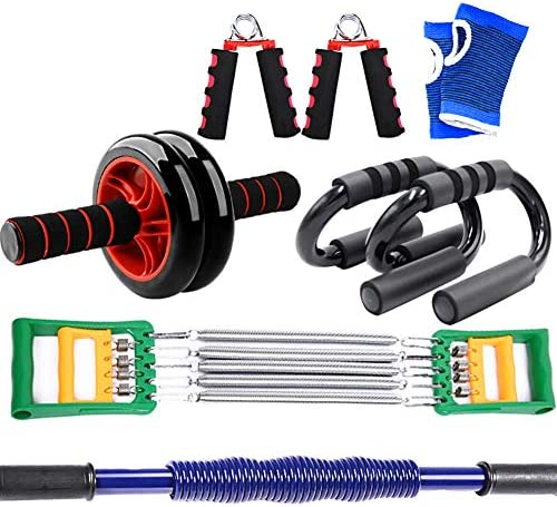 ポータブル重強度トレーニングセット、パワーツイスターバー、Abローラー、テンションプーラー、プッシュアップスタンドハンドルとハンドグリップストレングスナー、筋肉を構築するためのホームAbトレーナーフィ