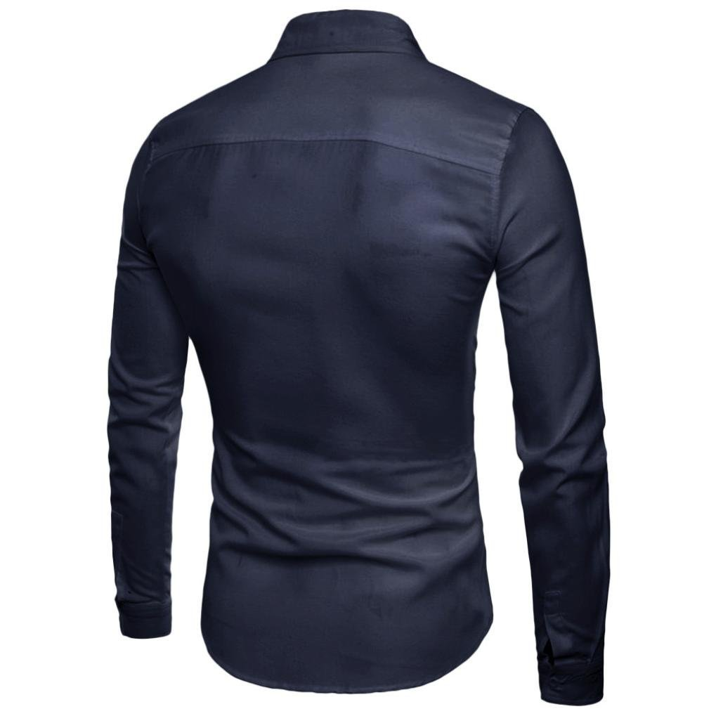 Longay Men Long Sleeve Shirt Eagle Patterns Turn-Down Collar Shirts Tops