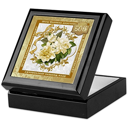 CafePress - Floral Gold 50Th Wedding Anniversary - Keepsake Box, Finished Hardwood Jewelry Box, Velvet Lined Memento Box - Anniversary Keepsake Tile