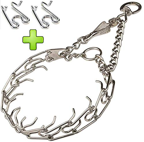 Steel Sprenger Choker (Herm Sprenger Ultra-Plus Prong Dog Training Collar, Choke Pinch Collar for Dogs, Custom Size 2.25mm Choker Chain Pet Collars, Stainless Steel Chrome Plated with Quick Release Snap - Bonus 2 Links)