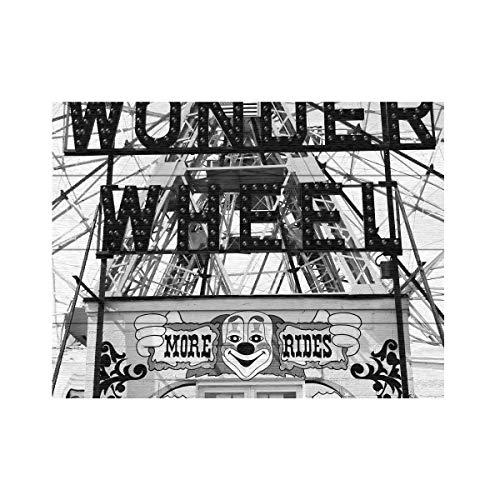 Trademark Fine Art Coney Island Wonder Wheel This Way by Yale Gurney, Wood Slats 12x16, Multi-Color (Wonder Wheel Coney Island)
