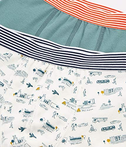 Set of 2 Sizes 2-12 Style 48087 Petit Bateau Boys Boxer Shorts