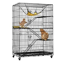 VIVOHOME 4-Tier 49 Inch Collapsible Metal Cat Kitten Ferret Cage 360° Rotating Casters Enclosure Pet Playpen with Ramp Ladders Hammock and Bed