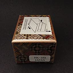 Japanese Wooden Yosegi Magic Secret Puzzle Trick Box #HK-103 (5-Way Steps), Made in Japan