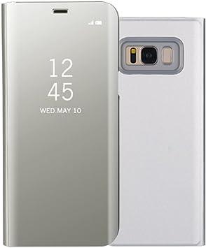 Funda Samsung S8 Clear View Standing Cover, Aursen Carcasa Case para Samsung Galaxy S8, color plata: Amazon.es: Electrónica