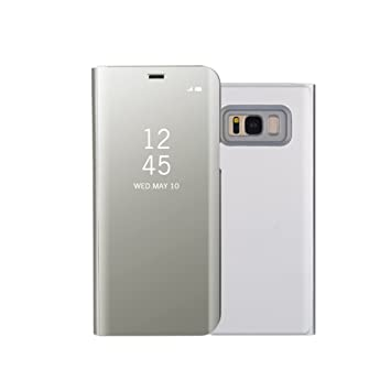 Funda Samsung S8 Clear View Standing Cover, Aursen Carcasa Case para Samsung Galaxy S8, color plata