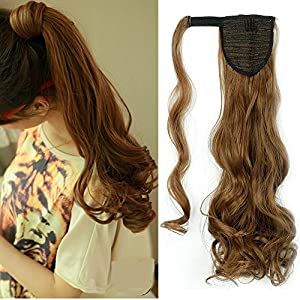 Wrap Around Synthetic Ponytail Clip in Hair Extensions One Piece Magic Paste Pony Tail Long Wavy Curly Soft Silky for Women Fashion and Beauty 17'' / 17 inch (light brown)