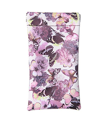 Butterfly Leaf Top - Lucky Leaf Sunglasses Goggles Pouch Case Women Eyeglass Holder with Cleaning Cloth (Purple Butterflies)