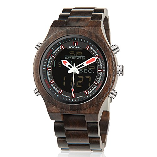 Wooden Watches for Men Dual Display Quartz Watch LED Digital Army Military Sport Wristwatch