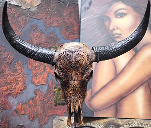 28'' Authentic Buffalo Skull with Horns & Heart Carving - By Skullbliss