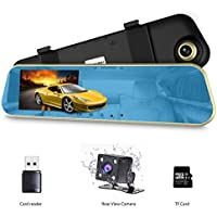 VICTONY Full HD 1080P Dual Lens Car Dash Camera with 4.3 Inch Screen, 170-degree Wide Angle Lens,Rearview Dash Cam Vehicle Recorder with G-Senor(8G SD Card Included) (Blue)