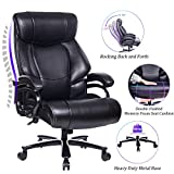 REFICCER High Back Big & Tall 400lb Leather Office Chair Executive Desk Computer Task Swivel Chair- Heavy Duty Metal Base, Adjustable Tilt Angle, Thick Padding and Ergonomic Design for Lumbar Support