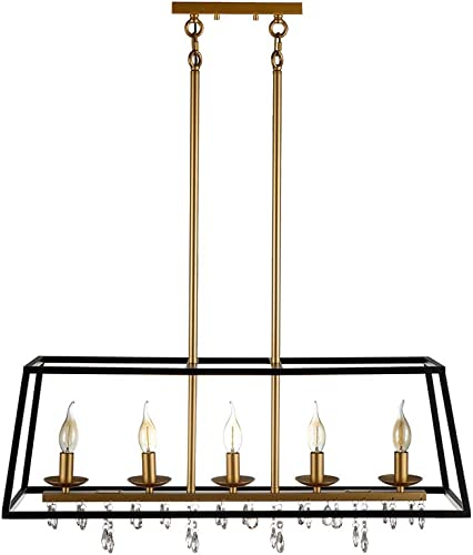 JINZO 31.5″ Rectangle Chandelier 5-Lights Black and Glod Farmhouse Dining Room Lighting Rustic Pendant Chandelier