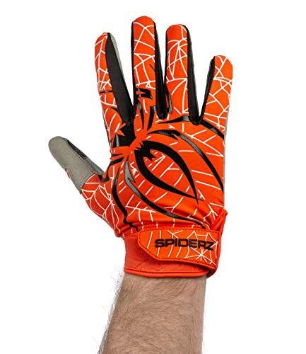 Spiderz LITE Adult Baseball/Softball Batting Gloves (Orange/Black, Small) (Orange And Black Baseball Gloves)