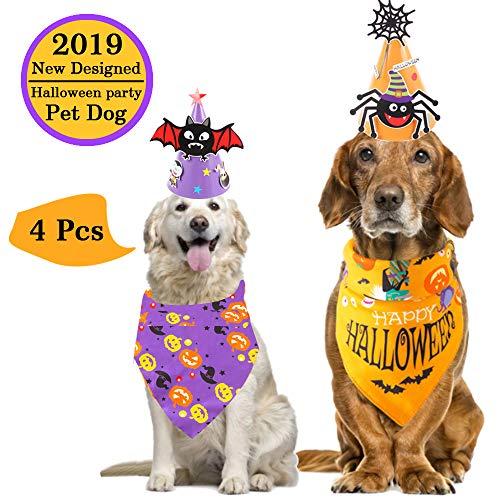 Wassteel Halloween Dog Bandana with Halloween Hat- 2sets Pumpkin Dog Bandanas & Hats Kerchief Triangle Bibs Scarf…