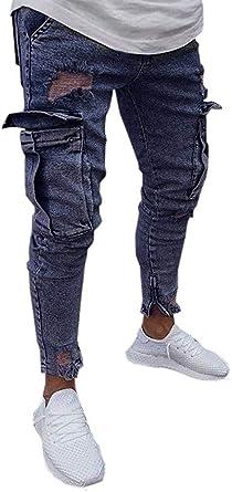 Jeans Para Hombre Hombre Strech Ropa Festiva Jeans Destruidos Ajuste Delgado Pantalones Ninos Pantalones Casuales Pantalones De Los Hombre Streetwear De Los Hombre Flaco Conicos Torn Denim Clubwear Amazon Es Ropa Y Accesorios